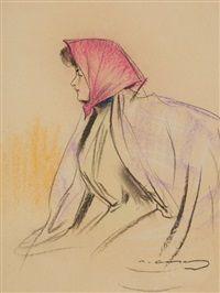Femme de profil en fichu by Ramón Casas