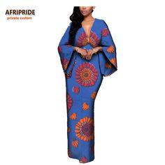 African Batik Flare Sleeve V-Neck Dress