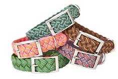 Dog collars. Great colors, love the silver buckle. would be a cute bracelet. Leashes can also be made with this paracord.