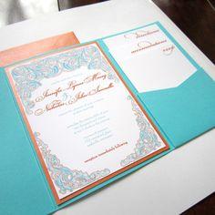 Elegant Modern Teal and Orange Pocketfold Wedding by emersonink
