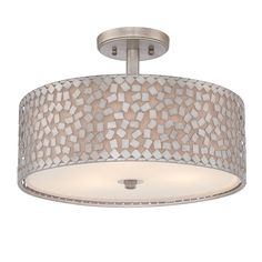 @Overstock.com.com - Quoizel 'Confetti' Semi-flush 3-light Mount - This collection features confetti-like metal chips encompassing an inner off-white linen shade.  The old silver finish and frosted diffuser completes the design of this funky-chic series.  http://www.overstock.com/Home-Garden/Quoizel-Confetti-Semi-flush-3-light-Mount/8398823/product.html?CID=214117 $239.99