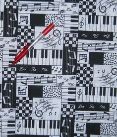 Piano Musical  print fabric   cotton sold per by LuckyCarolDesigns