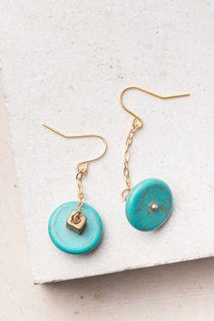Rosette; Turquoise disk & gold earrings, $28.99 Buy Fair Trade and help restore hope for exploited women in Asia