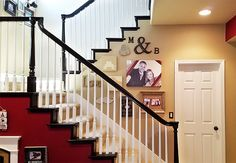 After months of admiring this amazing gel stain makeover over at Remodelaholic, I finally had a stretch of time off work long enough to dive right in and tackle this project in my home. (My office … Painted Stair Railings, Stair Banister, Painted Staircases, Carpet Stair Treads, Painted Stairs, Stained Staircase, Staircase Design, Staircase Ideas, Banister Remodel