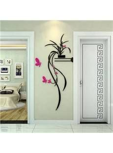 Best Selling Stunning Orchid and Butterfly 3D Wall Sticker