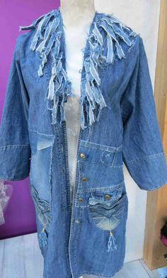 ausgefallener Traum Mantel Jeans Jeansmantel 38 40 42 handmade usedlook UNIKAT