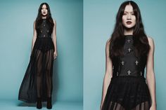 Black Gothic Silk Sheer Racerback Cross Motif