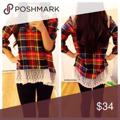 ❣️NEW❣️ Adorable Plaid Lace Bottom High Low Tunic This top is too cute that I even kept one for myself! I love it! Sizes S (2-4) M (6-8) and L (10-12) and runs true according to that. Brand new. Tops Tunics