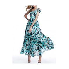 Blue A-line Beach Chiffon Maxi Dress ($110) ❤ liked on Polyvore featuring dresses, chiffon maxi dress, maxi dress, blue maxi dress, a line chiffon dress and a line dresses