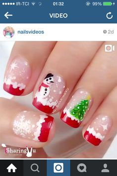 Festive Nail Art Designs for Christmas Xmas Nail Art, Cute Christmas Nails, Holiday Nail Art, Xmas Nails, New Year's Nails, Merry Christmas, Christmas Snowman, Diy Christmas, Christmas Wreaths