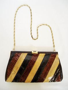 Vintage Snakeskin Handbag by Jane Shilton London C1980 Detachable Chain @38.00