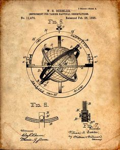 Nautical Observation Patent Print From 1895 - Compass - Patent Art Print - Patent Poster - Nautical Steering - Boating - Sailing Navigation door VisualDesign op Etsy https://www.etsy.com/nl/listing/212273391/nautical-observation-patent-print-from: