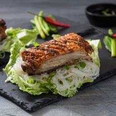 Pork Belly with Asian Dressing Farro Recipes, Pork Recipes, Asian Dressing, Asian Slaw, Toasted Sesame Seeds, Fresh Coriander, Hoisin Sauce, Easy Salads, Pork Belly