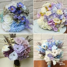 Unique handmade bouquets in blue x lavender!