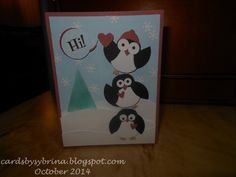 A Cool Yule (10-20-2014): A kiddie craft-show Christmas card featuring the Stampin' Up! owl builder punch; inside sentiment: Wishing You a Cool Yule!
