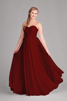 A strapless chiffon bridesmaid dress that's available in our gorgeous deep red color, Claret. | Kennedy Blue