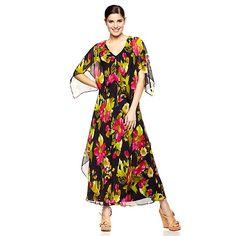 Vicky Tiel Long Printed Caftan Style Dress