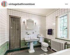 Vintage Bathrooms, Tiled Bathrooms, Retro Renovation, Vintage Tile, Shower Doors, Tudor, 1930s, Toilet, Nashville