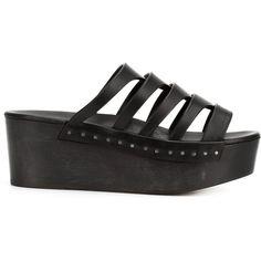 Rick Owens 'Nautilus Sabot' clogs (€1.270) ❤ liked on Polyvore featuring shoes, clogs, black, platform shoes, black shoes, strappy shoes, open toe clogs and black platform shoes