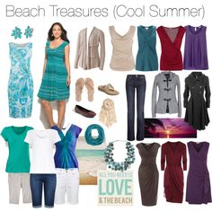Beach Treasures. Cool Summer inspired. Full Hourglass and Pear bodyshapes. Turquoise and Sand (and white) for daywear. Muted jewel tones and grey/charcoal for nightwear.
