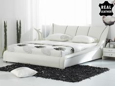 Super King Size  leather bed incl. stable slatted frame - 180x200 cm - NANTES - 539 GBP