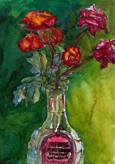 October Roses in Watercolor by Jana Bouc - very intense colors.