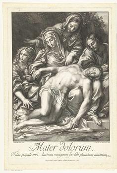 Robert van Audenaerd | Bewening van Christus, Robert van Audenaerd, 1701 | Het lichaam van Christus ligt op Maria's schoot. Maria, twee andere vrouwen, van wie een met een nimbus, en een man rouwen om Christus. In de ondermarge een Latijns vers uit de bijbel, Jeremia 6, 26.