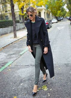 Olive Green Skinnies + Navy Blue + Messy Bun