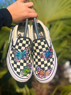 Butterfly Slip Ons by angelahient Lil Uzi Vert Style, Custom Af1, Aesthetic Shoes, Behind The Scenes, Jazz, Nike Shoes, Cute Outfits, Butterfly, Slip On