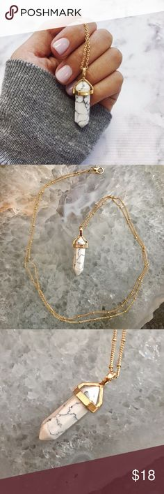 """Minimalist Marble Gold Thin Dainty Chain Necklace 30"""" Thin delicate gold chain necklace with a marble stone pendant. New with tags! Zara Jewelry Necklaces"""