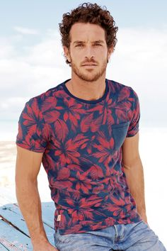 Buy Red And Blue Floral Print T-Shirt from the Next UK online shop