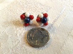 Vintage Red, White and Blue Patriotic Earrings. WWII, American, British. by GothiqueGirl on Etsy