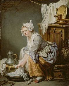 The Laundress, Jean BaptisteSimeon Chardin, Colonial Quills: Laundry Day in the 18th Century