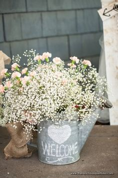 baby's breath with pink carnations wedding décor!!