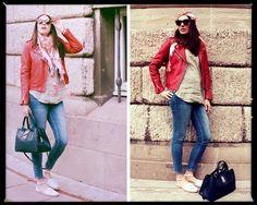 Mango Leather Jacket, Zara Denim Skinny, Zara Shirt, Celine Sunglasses, Bag Vintage, Zara Espadrilles, Pieces Scarve