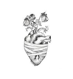 Dark Art Drawings, Pencil Art Drawings, Art Drawings Sketches, Anatomical Heart Drawing, Human Heart Drawing, Tatoo Heart, Brain Art, Heart Illustration, Drawing Artist
