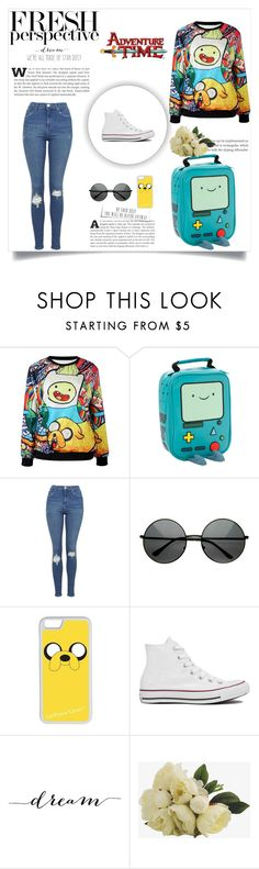 """Adventure Time "" by batmanlover-795 ❤ liked on Polyvore featuring Topshop, CellPowerCases and Converse"