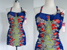 1950s Vintage Catalina Blue Hawaiian Swimsuit with Butterfly  vlv. $295.00, via Etsy.
