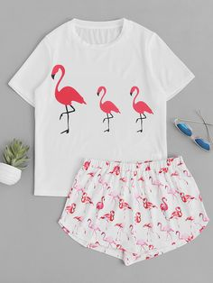Shop Allover Flamingo Print Top With Shorts Pajama Set online. SheIn offers Allover Flamingo Print Top With Shorts Pajama Set & more to fit your fashionable needs.
