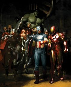 thelastinterceptor:    Capscrotch: comicbookartwork:    The Avengers by Gerald Parel    oh my god the art history student inside me is dying because    The Nightwatch by Rembrandt    OOOOOH    art + pop culture + comics =!!!!