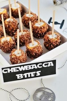 Marshmallows or apple chewbacca bites! (Dip Marshmallow or apple in caramel and role in rice krispies)