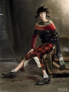"""""""Rebel Yell"""": Edie Campbell Goes Punk for the Costume Institute by Steven Meisel for US Vogue May 2013"""