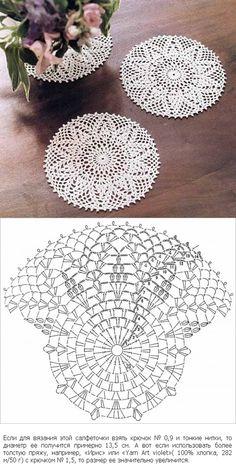 Crochet pineapple doily with chart http://www.liveinternet.ru/users/tatyaninden/post348821387/