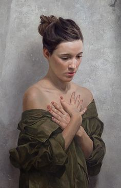 """Redux"" - David Jon Kassan, oil on aluminum panel, 2012 {figurative realism art beautiful brunette female shoulders hands woman portrait cropped painting detail #loveart} davidkassan.com"