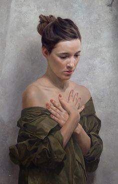 """Redux"" - David Jon Kassan, oil on aluminum panel, 2012 {figurative realism art beautiful brunette female shoulders hands woman portrait cropped painting detail #loveart} davidkassan.com"