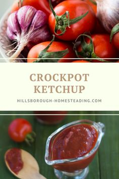 Easy recipe for homemade ketchup! Let tomatoes simmer in the crockpot/slowcooker all day and then blend! | Hillsborough Homesteading