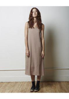 La Garçonne Moderne Slip Dress in Taupe