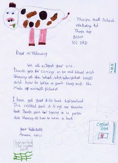 Jack Trelawny school author visit to Thorpe Hall Lower School SS1 3RD  (UK). The school sent the after-visit work the children had done in class. Letter and artwork from Ameala Lyons