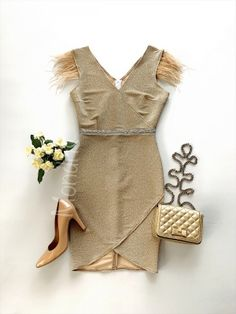 Rochie eleganta scurta aurie cu sclipici si franjuri la maneci - Rochii - Rochii banchet Peplum, Dresses, Women, Fashion, Tulle, Vestidos, Moda, Fashion Styles, Dress