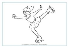 Figure Skating Coloring Page: Winter Olympic Crafts for Kids. Olympic Idea, Olympic Sports, Olympic Games, Sports Coloring Pages, Colouring Pages, Olympic Crafts, Kids Olympics, Pyeongchang 2018 Winter Olympics, Art Lessons Elementary